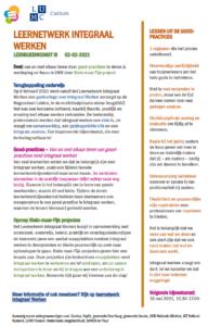 Factsheet Leernetwerkbijeenkomst 3 Integraal Werken